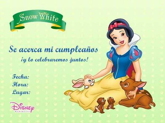 Invitaciones para imprimir de Blancanieves | Fiesta101