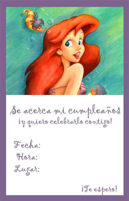 Invitaciones para imprimir de La Sirenita (Princesa Ariel) | Fiesta101