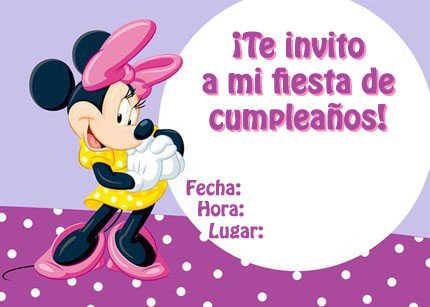 Invitaciones de Minnie Mouse para imprimir gratis | Fiesta101