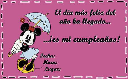 La siguiente invitación tiene impresa a una Minnie Mouse retro ...