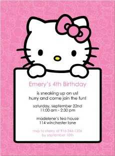 Nuevas Invitaciones De Hello Kitty Para Cumpleaños Fiesta101