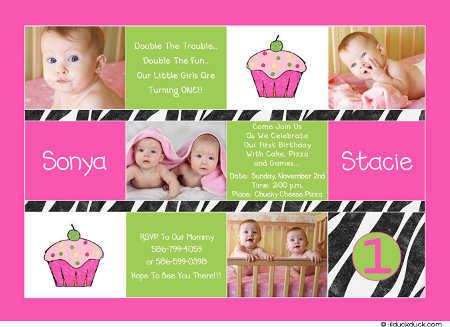 Invitaciones de cumpleaños para una fiesta de gemelos o gemelas ...