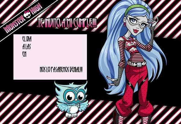 Invitación para tu fiesta Monster High de Lagoona Azul