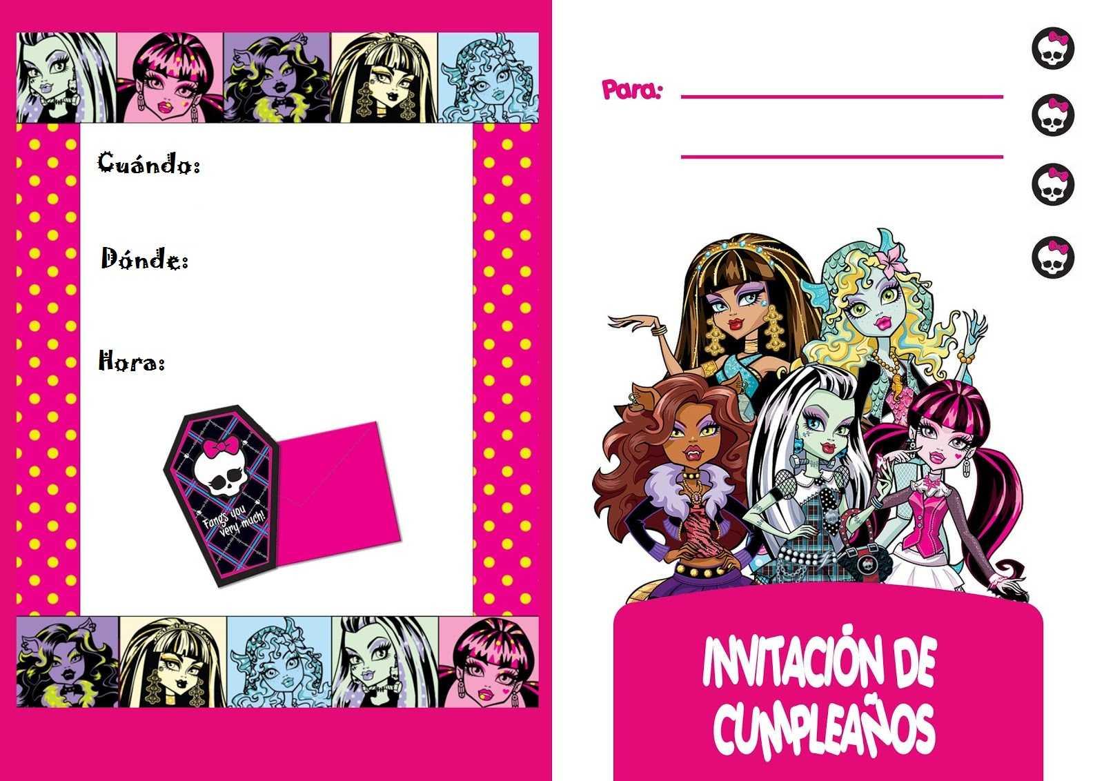 Las Más Lindas Invitaciones Para Tu Fiesta Monster High